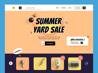 Used Goods - Online Shop Landing page happycolor typography landingpage flatdesign vector ux websitedesign shopify ecommerce ui web