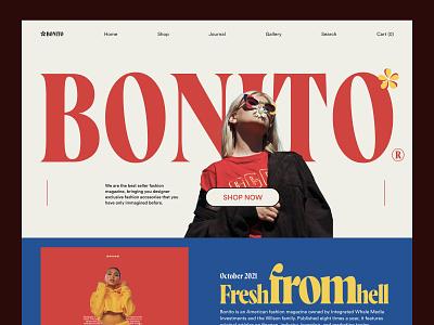 Bonito - Fashion Landing Page typography magazine graphic design flatdesign ecommerce shopify fashion vector illustration branding agency web ux design ui