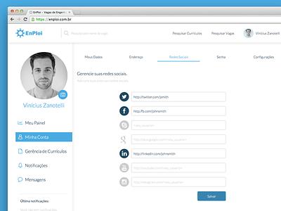Enploi Redesign dashboard settings social profile redesign