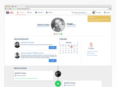 AC Miles timeline events calendar web app profile dashboard