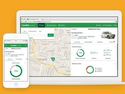 Localiza Connect material car dashboard mobile web app map fleet management