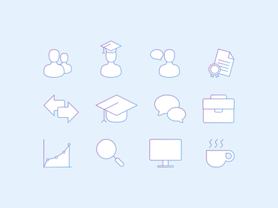 Line Icons line icons gradient coffee student business icons