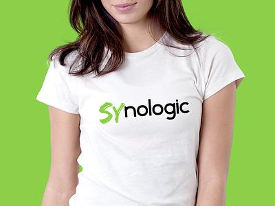 Logo for SYnologic shirt brand machine brush robotics it company tech logo