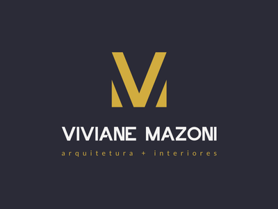Logo Viviane Mazoni typography m v lines diagonal design interiors architecture logo