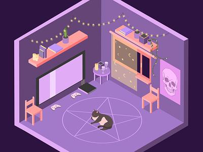 Deep purple isometry cyberpunk pentargam cat room digital art illustrator illustration vectorart vector flatdesign diorama