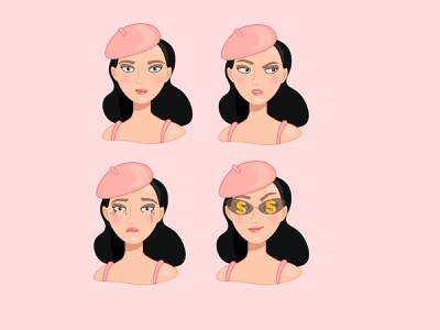 Pin-up cutie girl character illustrator sticker illustration vectorart vector flatdesign pinup girl pinup