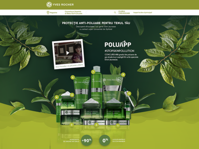 Yves-Rocher Landing Page cosmetics skin care skincare bucharest romania agency tuio yves rocher leaves nature landing page