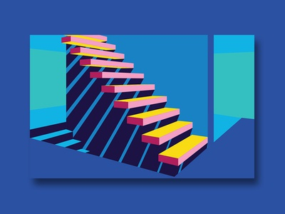 Stairway to... shadow stairs vector illustration