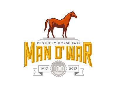 Man o' War 100 Logo thoroughbred horse illustration icon badge logo