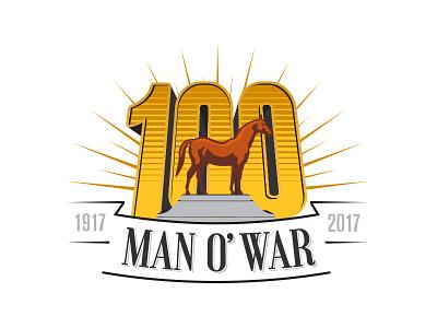 Man o' War 100 Alternate logo thoroughbred horse illustration icon badge logo