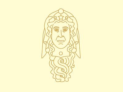 Illustration of woman woman monoline face illustration