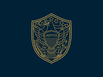 Justice Shield eagle monoline illustration shield