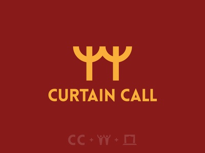 Curtain Call Logo stage curtain acting icon mark logo