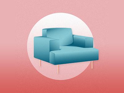 Chair Illustration midcentury midcenturymodern midcentury modern shading texture furniture interior design architecture illustration chair