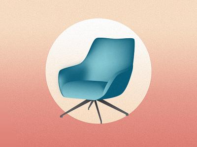 Mid Century Chair vector illustration midcenturymodern midcentury shading interior design furniture design furniture chair