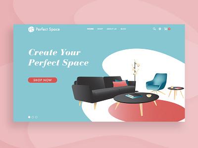 Perfect Space – Homepage concept modern mid century furniture website design web design webdesign illustration branding design ux ui