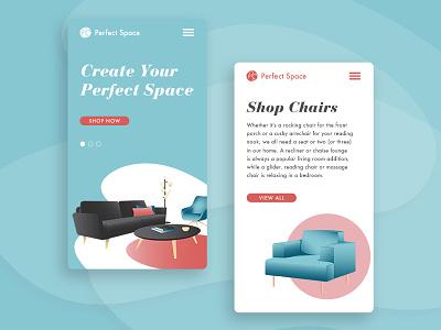 Perfect Space – Mobile concept modern midcentury mobile design design illustration furniture mobile ux ui