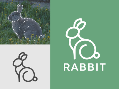rabbit rabbit logo art vector minimal illustration flat icon logo