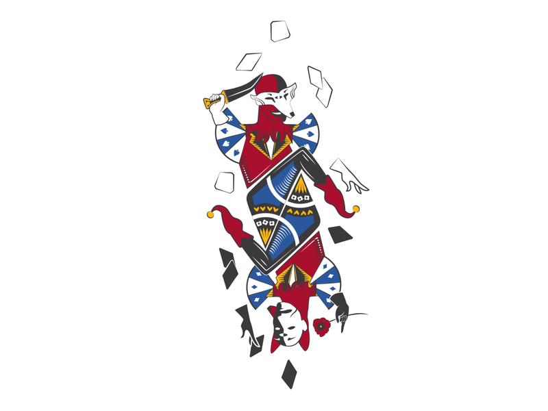 The Trickster duality poker card joker digital illustration