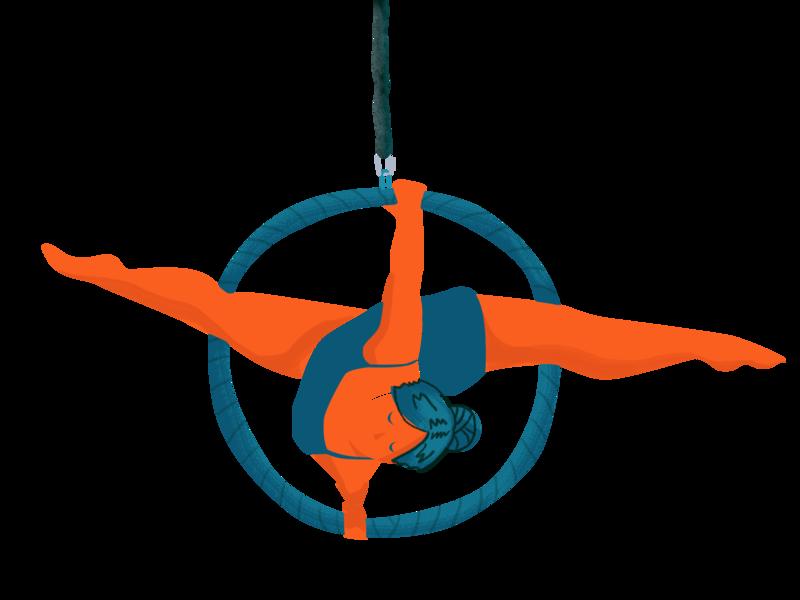Aerialist aerial hoop digital illustration circus