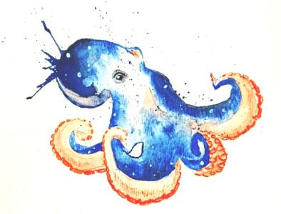 Inkhead watercolor illustration colored pencil watercolor