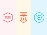 Tastebuds Brand Exploratory app ios dine wine food stroke illustration badges