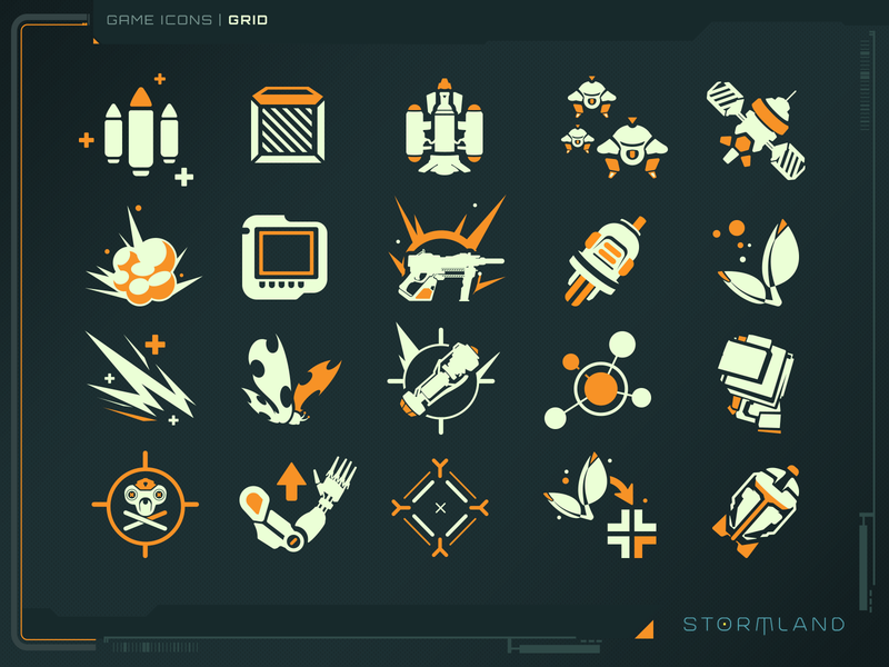 Stormland Icons game art logo design icons gui illustration photoshop ui
