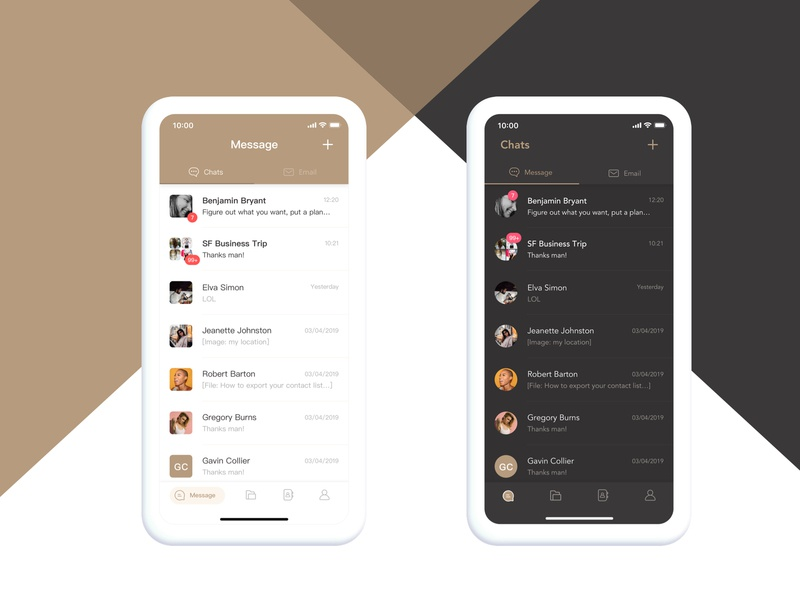 message color exploration - Gold product design color chat dark theme gold message product mobile ux design app ui