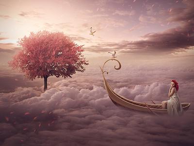 fantasy above the sky autum fantasy sky design graphic illustration design