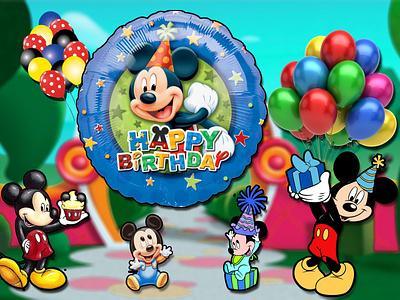 happy birthday animal gifts balloon disney cartoon happybirthday mickeymouse