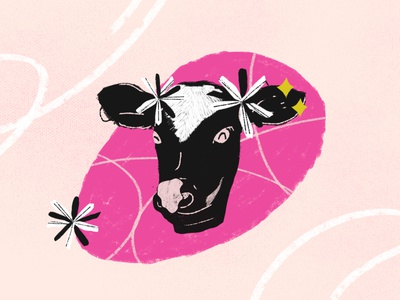 Cute Cow / Becerrita. bright color illustration caribbeanartist vaca flowers animal character cow