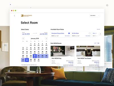 MGM Resorts: Room Booking 02 ui animation design html5 responsive web design desktop ux booking hotel hotel booking