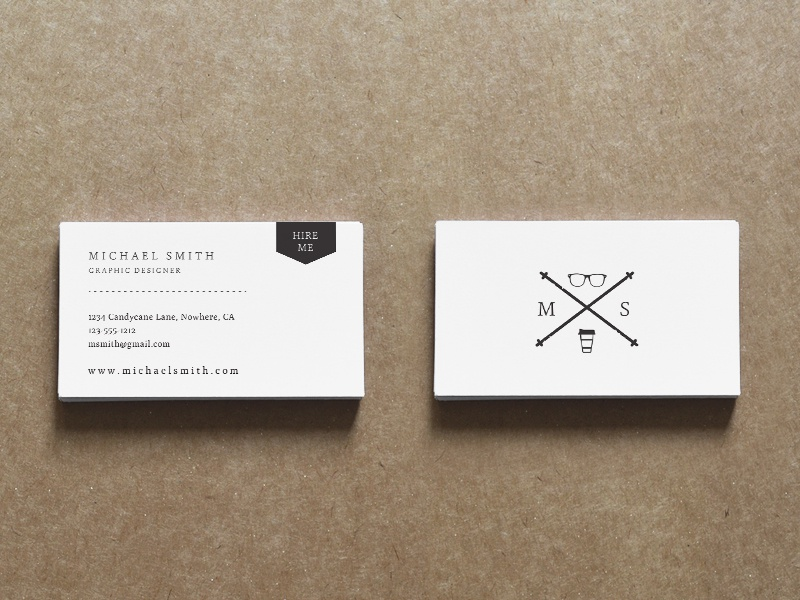 Clic Resume Business Card Set Design Cv Hipster Black And White