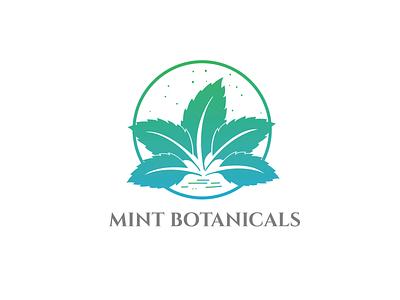 CONCEPT LOGO FOR MINT BOTANICALS health and wellness illustrator logodesign icon logo logo and brand identity design graphic designer branding