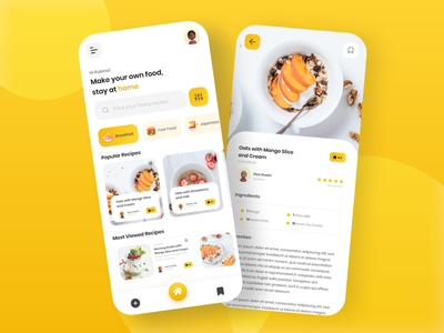 Cooking Recipe App Concept🥘🍵 live cooking cooking class recipe illustration recipe design recipe app recipe book mobile app mobile application mobile design cooking logo cooking app