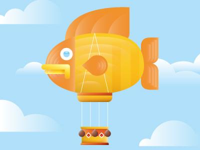 Balloon Fish fish balloon sky clouds puffer editorial illustration