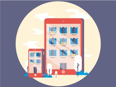 Responsive Design city home house ipad web design responsive iphone vector illustrator illustration