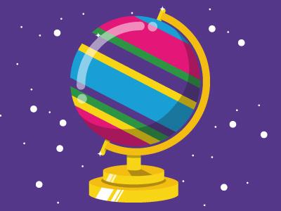 Globe map editorial rainbow world illustrator illustration globe