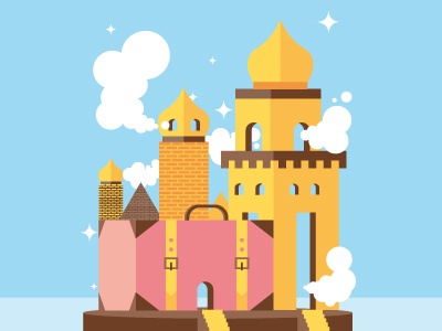 Back From Holydays vector trip journey suitcase city illustration
