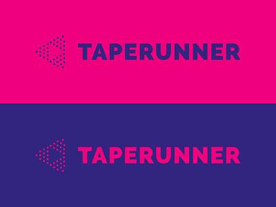 Taperunner logo negative space dots social video brand play music minimal mark logo identity design