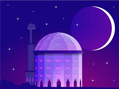 Moonlight vectober2018 italy moonlight moon gradient digital 2d artwork art sciart sci fi space star vector illustration