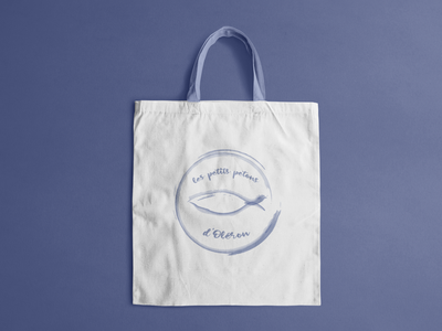 Les petits petons d'Oléron icon illustrator logo minimal watercolor fish oleron island baby kids illustration branding bag canvas totebag