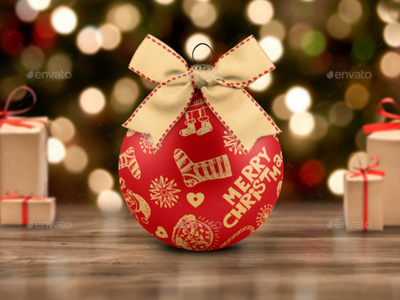 Christmas Ball Mock-Up xmas wishes winter sphere snow silver santa new year layout holly holiday glitter decorative decoration tree christmas mock christmas ball bow ball background
