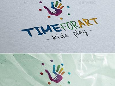 Time For Art - Kids Play workshop train summer studio school paint kid handmade fun education design cute creative class childhood charity logo care bright brand artwork