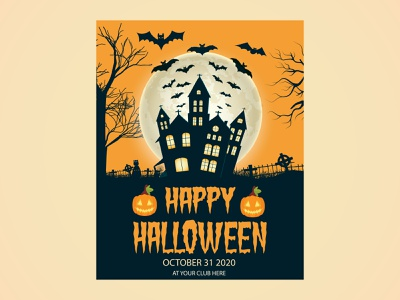 Halloween party poster template design | Halloween banner for pr halloween poster halloween flat evil element design dark cute creepy colorful celebration castle cartoon card black bat banner background autumn art