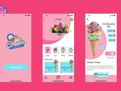 Ice Cream shop iOS app UI illustrator vector typography ui web app logo design