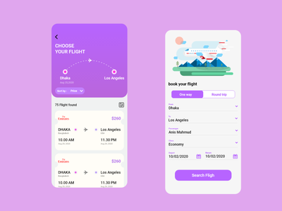 Flight booking app vector graphic design ui minimal illustration android web typography app logo design
