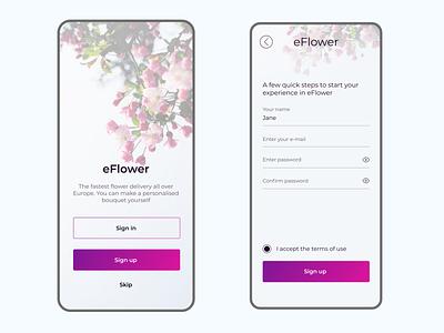 eFlower - flower delivery app sign up | Daily UI Challenge 001 dailyuichallenge shop flower app figma dailyui design