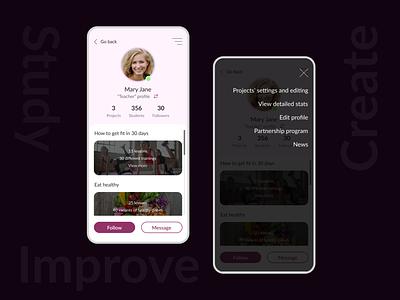 DailyUI 006 | User profile courses learning platform profile user interface figma dailyuichallenge dailyui