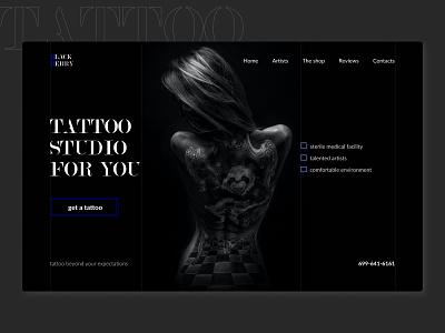Landing for a tattoo studio tattoostudio tattoo typography ui figma dark mode dark ui landingpage